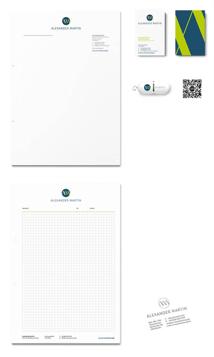 Entwurf der Corporate Identity für den Steuerberater Alexander Martin.