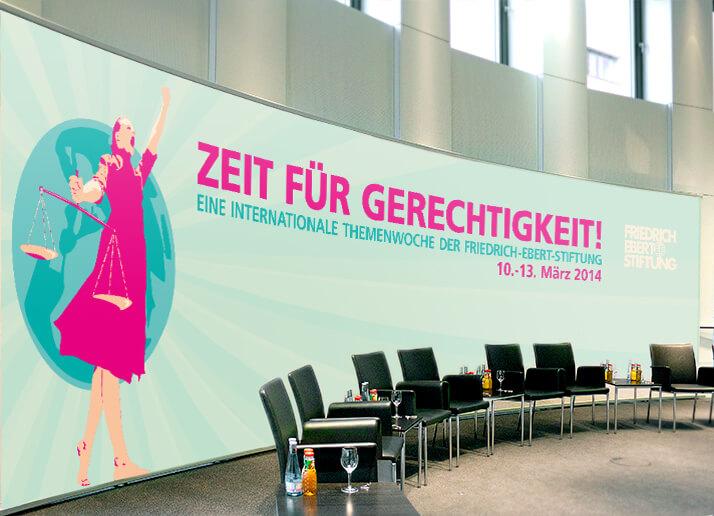 Großflächenplakat - Hintergrund für Diskusionsrunde - Kampagne für die Friedrich Ebert Stiftung